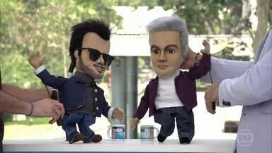 Otaviano Costa e Joaquim Lopes viram bonecos de manipulação - Apresentadores se divertem com o resultado