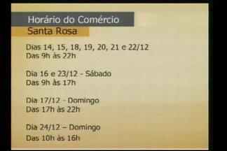 Comércio de natal estendido em Santa Rosa, RS, começa hoje 14/12 - Até o dia 22/12 as lojas abrem das 9h às 22h.