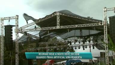 Reunião define data de reabertura da prainha de Santa Terezinha de Itaipu - Temporal atingiu no local no último fim de semana.