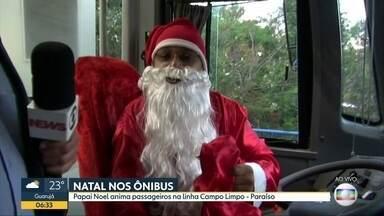 Motoristas de ônibus decorados para o Natal animam passageiros - Funcionários fazem trajetos de linhas vestidos como Papai Noel.