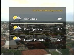 Meteorologia prevê áreas de instabilidade com períodos de chuva - Confira como ficam as temperaturas em outras cidades da região.