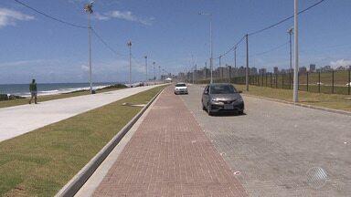 Novo trecho da orla da Boca do Rio é inaugrado, em Salvador - Uma nova via foi construída, com ciclovia e calçada.