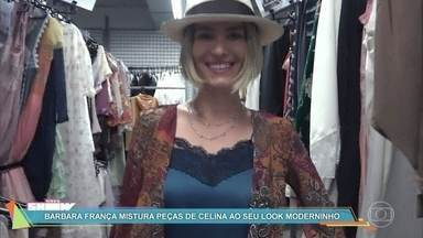 Barbara França mistura peças de Celina ao seu look moderninho - A atriz comenta os trajes de sua personagem em 'Tempo de Amar' e os compara ao seus