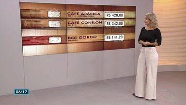 Veja como ficou a cotação do café e do boi gordo no ES - O café arábica fechou em R$ 420 a saca. A saca do conilon, foi comercializada a R$ 342. A arroba do boi inteiro foi negociada a R$ 141,23.