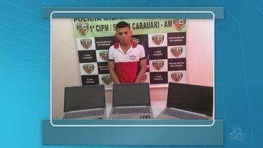 Homem é preso em Carauari após roubar agência do INSS - Suspeito roubou três computadores.