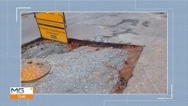 Telespectadora reclama de buraco em cruzamento no bairro Novo Progresso, em Contagem - Moradora passa no local todos os dias e está cansada do problema.