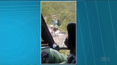 Montanhista é resgatado no Pico Paraná - Ele quebrou a clavícula e foi encaminhado ao Hospital Angelina Caron.