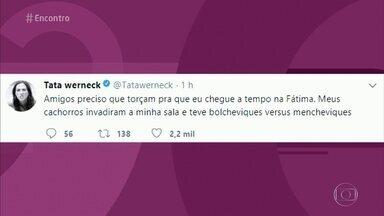 Tatá Werneck inventa desculpa para explicar atraso no 'Encontro' - Atriz diz que seus cachorros e seus gatos brigaram em casa
