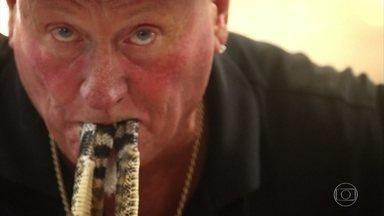 Domingão Aventura: Cristian Dimitrius apresenta americano aficionado por cobras - Mesmo já tendop sofrido acidentes, ele não abandona o seu perigoso hobby
