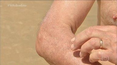 Doenças causadas por fungos são mais comuns no verão - A principal fonte de contaminação é a areia que, em contato com a pele, pode provocar micoses. Na praia, o perigo também está nas pedras, onde ficam os ouriços do mar, e no mar, com a água-viva.