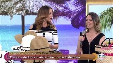 Fernanda aposta no negócio de bolsas e chapéus personalizados - Empreendedora aproveita o verão para lucrar com a venda de produtos para praia. André Curvello foi às ruas ver o que a galera anda vendendo nas praias