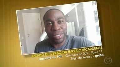 Lázaro Ramos convida a galera para o ensaio da escola Império Ricardense - Confira essa e outras dicas da galera no vídeo.