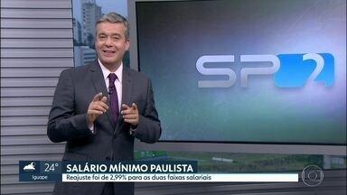 Salário mínimo paulista tem reajuste de 2,99% - O piso na faixa 1 foi para R$ 1.108,38 e na faixa 2 para R$ 1.127,23. O reajuste é retroativo a janeiro.