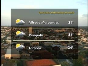 Meteorologia prevê pancadas de chuva durante todo o dia - Confira como ficam as temperaturas em algumas cidades da região.