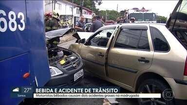 Motoristas embriagados causam dois acidentes graves na madrugada deste sábado (27) - Os motoristas envolvidos nas batidas tinha ingerido bebida alcóolica, em um dos carros haviam 9 pessoas.