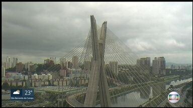 Previsão do tempo para o fim de semana - Chuva na Grande São Paulo e no litoral. As temperaturas sobem e chegam a 27 graus ainda hoje.