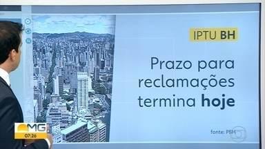 Prazo para reclamar do IPTU de Belo Horizonte termina nesta quinta-feira - Enquanto a reclamação é avaliada, o vencimento do imposto fica suspenso.