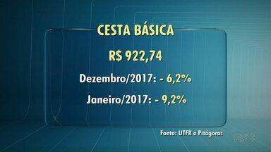 Cesta básica está mais barata em Londrina - Os preços caíram 6,2% em comparação a Dezembro do ano passado e 9,2% em relação a janeiro de 2017.