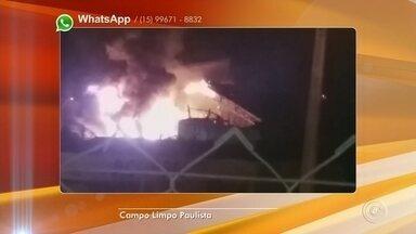 Incêndio atinge fábrica de fertilizantes em Campo Limpo Paulista - Um incêndio atingiu uma fábrica de fertilizantes na madrugada desta quinta-feira (15) às margens do rio Jundiaí, em Campo Limpo Paulista (SP).