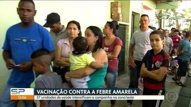 57 unidades de saúde intensificam vacinação contra febre amarela na zona leste de SP - Medida foi anunciada depois da morte de macaco dentro do Parque do Carmo. Especialista tira dúvidas sobre a doença.