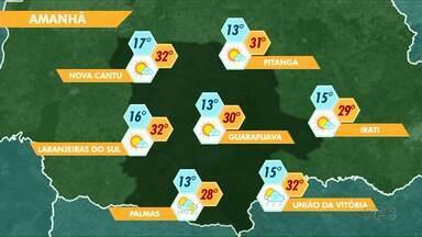 Domingo deve ser de sol na região - Previsão de pancadas de chuva só pra União da Vitória
