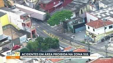 Caminhão em área proibida causa interdição de rua na Zona Sul - Área no Sacomã tem proibição para caminhões e ônibus. Acidentes são comuns na região