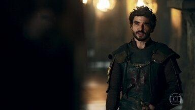 Cássio diz a Rodolfo que os Eranitas não podem ser removidos de suas terras - Ele explica que a área é protegida por um pacto entre os reinos