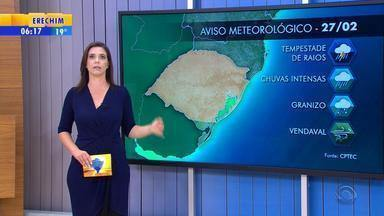 Tempo: RS tem alerta de chuva intensa nesta terça-feira (27) - Veja como fica a previsão.
