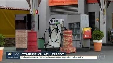 Dois postos de combustível são fechados por vender gasolina adulterada - Um dos postos fica na Estrada do M'Boi Mirim, na Zona Sul. E o outro na Avenida Corifeu de Azevedo Marques, na Zona Oeste. Ambos vendiam gasolina com mais álcool que o permitido e não tinham autorização para funcionar.