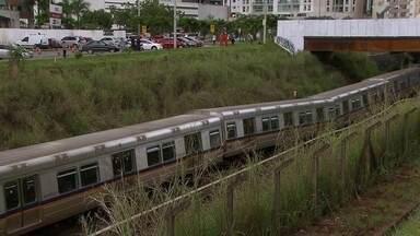 Composição do metrô descarrila entre as estações Arniqueiras e Águas Claras - Um trem do metrô saiu dos trilhos, na manhã desta quarta-feira (28), entre as estações Arniqueiras e Águas Claras. Não havia passageiros na composição.