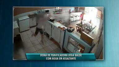 Mulher evita assalto com balde d'Água - Homem tenta assaltar padaria em Assis Chateaubriand e se dá mal.
