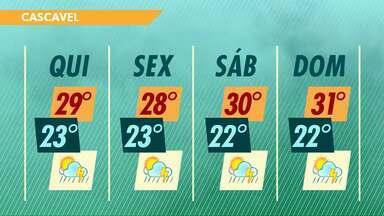 Tempo continua instável nesta quinta-feira no oeste do estado - Tem alerta para o risco de temporais.