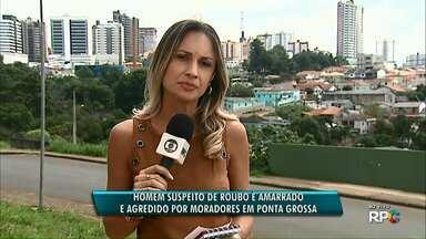 Homem suspeito de roubo é amarrado e agredido por moradores em Ponta Grossa - Foi no bairro Contorno.