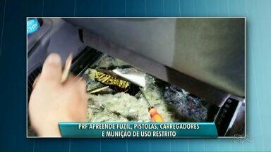 PRF apreende fuzil e cartuchos em fiscalização - A apreensão foi em Guaíra