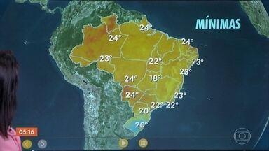 Previsão é de calor em grande parte do país nesta quinta-feira (15) - Estão previstos temporais no Sul do país. Confira a previsão do tempo para todo país nesta quinta-feira (15).