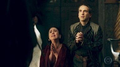 Rodolfo acusa Lucrécia de adultério e avisa que o casamento deles acabou - Lucrécia chora copiosamente, mas Rodolfo não escuta as explicações da esposa