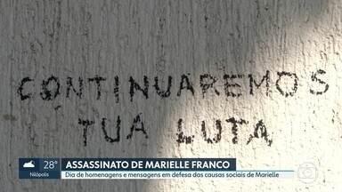 Homenagens a Marielle Franco e às causas sociais que ela defendia na política - Manifestações também foram feitas no exterior e escritora Conceição Evaristo, num evento em Paris, se emocionou ao falar da vereadora e amiga
