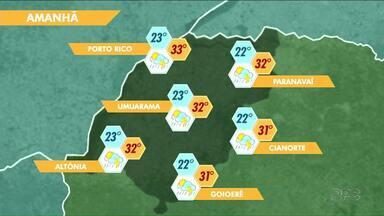 Terça-feira terá calor e pancadas de chuva no Noroeste - O dia será chuvoso em boa parte do Paraná, mas, no Noroeste, o sol aparece mais.