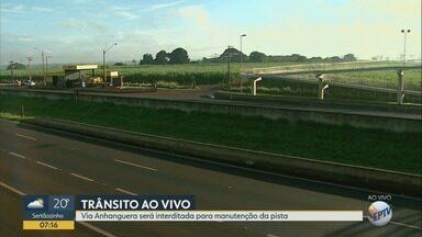 Trecho da Rodovia Anhanguera é interditado para obras em passarela em Ribeirão Preto - A partir das 8h desta quinta-feira (22), uma das faixas será bloqueada no quilômetro 322.