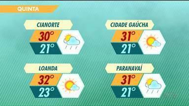 Pode chover a qualquer momento agora a tarde no Noroeste - Temperatura máxima chega a 32 graus em algumas cidades do Noroeste.