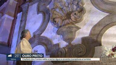 Chafariz dos Contos volta a jorrar água depois de 20 anos em Ouro Preto - Chafarizes são tradição na cidade