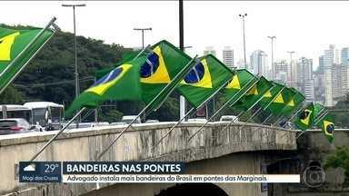 Advogado instala bandeiras do Brasil em mais duas pontes das Marginais - Nesta terça-feira (27), o SP1 já tinha mostrado a instalação de uma bandeira na Ponte do Morumbi. Agora, também tem na Ponte das Bandeiras e na Ponte Estaiada. Todas foram doadas por um advogado que diz que quer recuperar o patriotismo do brasileiro.