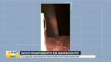 Anglo American tem novo vazamento em mineroduto na Zona da Mata de Minas - Esta é a segunda ocorrência registrada em menos de um mês ma região de Santo Antônio do Grama.