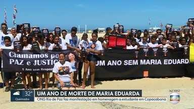 Rio de Paz protesta contra mortes de crianças por balas perdidas - Manifestação marca um ano da morte de Maria Eduarda, morta dentro da escola, em Acari
