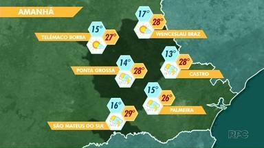 A previsão é de tempo estável pra esta quarta-feira (04) na região dos Campos Gerais - O sol deve predominar e não há previsão de chuva.