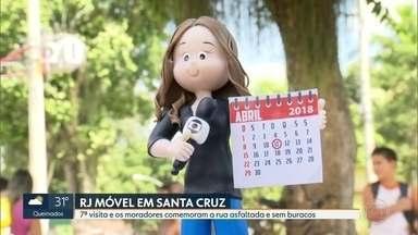 O RJ Móvel foi hoje a Santa Cruz - Moradores comemoraram o fim das obras de recapeamento da estrada dos Palmares, depois de sete visitas do RJ Móvel