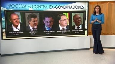 PGR pede ao STJ que envie à 1ª instância investigações contra 5 ex-governadores - Eles renunciaram aos cargos para se candidatar às eleições de outubro e, com isso, perderam foro privilegiado. São eles: Geraldo Alckmin (SP), Beto Richa (PR) e Marconi Perillo (GO) do PSDB, Raimundo Colombo (SC) do PSD e Confúcio Moura (RO) do MDB.