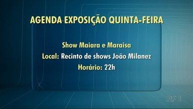 Confira as atrações da Exposição de Londrina nesta quinta-feira (12) - A dupla Maiara e Maraisa fazem o show desta noite, às 22:00, no Recinto João Milanez.