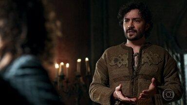 O rei manda Osiel refazer o esboço do monte Rodolfo e Catarina - Enquanto isso, Catarina se prepara para impressionar o marido