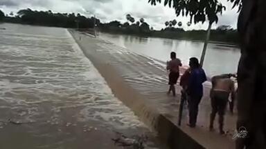 Rio Serafim, em Jaguaruana tem aumento com chuva - Saiba mais em g1.com.br/ce